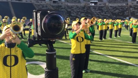 A special camera provides a 360-degree view of the Oregon Marching Band in new series of videos.