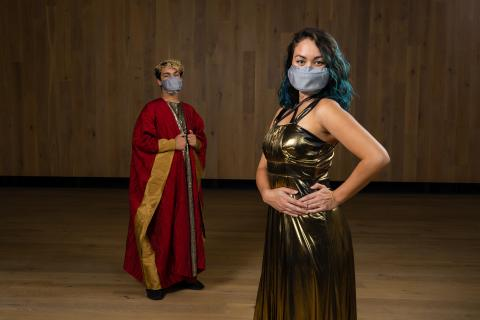 Blake Balmseda (left), a junior in music education, and Naomi Castro, a graduate student seeking degrees in music performance and conducting, model the new masks made for UO music students.