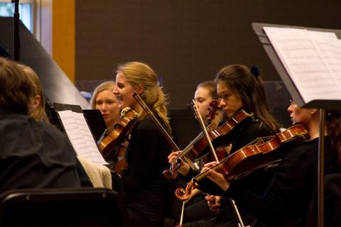 Orchestra Next records the soundtrack or The Snow Queen at the University of Oregon School of Music & Dance.