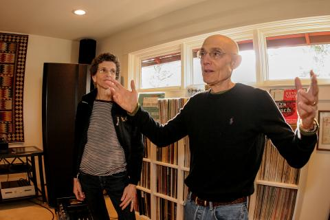 In the listening room of his comfortable Eugene home, Mark Dembrow explains the finer points of the custom sound system he enjoys with his wife Mari.