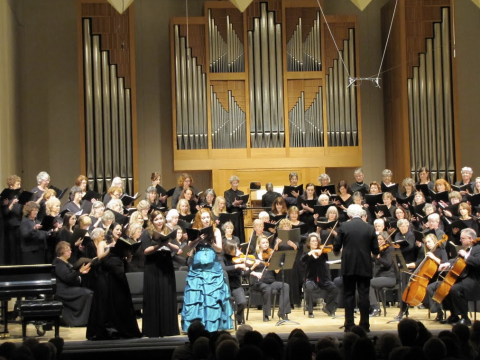 The Women's Choral Society and students soloists perform in Beall Concert Hall.