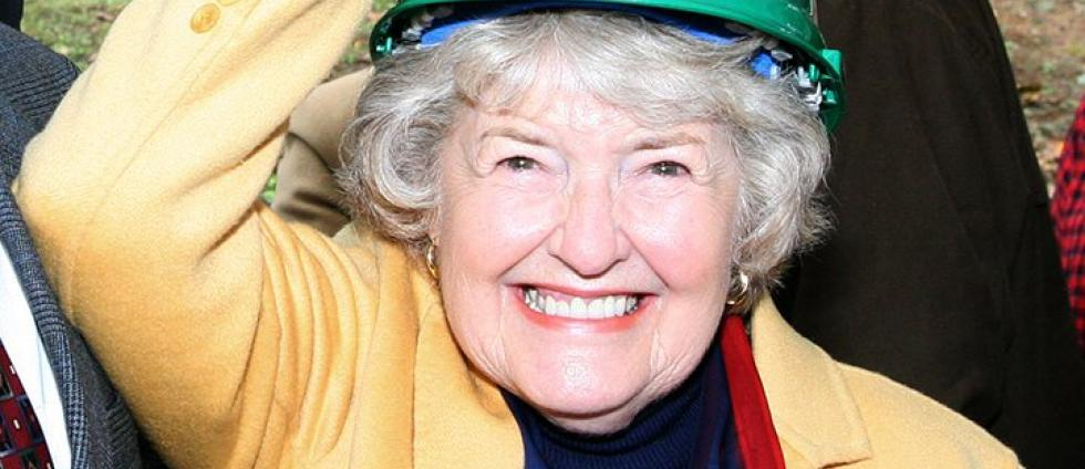 The late Leona DeArmond wears a University of Oregon hard hat.