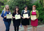 Three-Minute Thesis Competition winners, with Alison Kaufman at far left