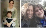 Dr. Karen Esquivel and her son Christian, in two photos separated by over two deacdes